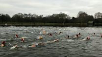 Christmas Day swimmers brave the Serpentine
