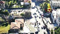 Aerial footage shows Italy quake damage