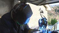 Devon sculptor recycles old metal for art
