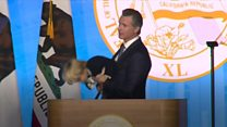 US governor's sleepy son invades stage