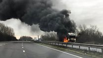 Blazing lorry stops dual carriageway traffic