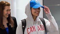Moment Saudi refugee arrives in Canada