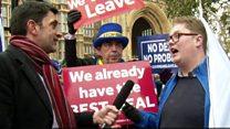 ブレグジット賛成派と反対派が肩並べ 英議事堂前の雰囲気は