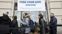 Federal workers queue up for free food