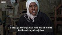 Mwanamke Muislamu anayefanya kazi ya Useremala Mombasa
