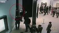 The moment a thief brazenly stole a painting at a gallery in front of visitors