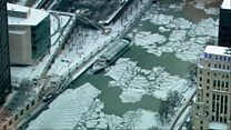 Chicago's frozen river from above