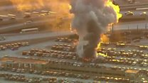 Cars destroyed in US airport fire