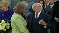 Irish president visits pub bomb memorial