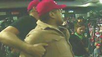 Trump supporter shoves BBC cameraman