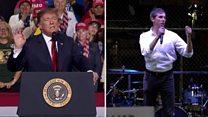 Rival rallies: Trump v O'Rourke