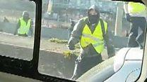 'Yellow-vests' pelt police van with stones