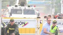 The moment Venezuelan troops crash through border
