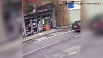 CCTV: Man nearly hit by falling bricks