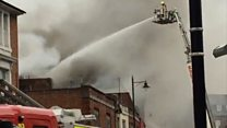 Fire closes town centre