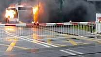 Bus catches fire near railway station