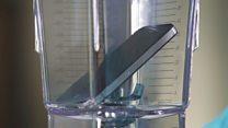 Phones crushed in blenders