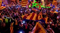 Catalan supporters sing in Madrid
