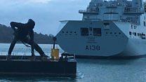 Giant sculpture arrives on barge