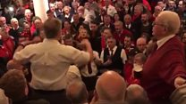 Welsh rugby fans sing Calon Lân at hotel