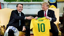Bolsonaro and Trump swap football shirts