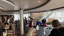 Furniture crashes and slides on cruise ship