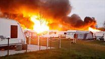 Caravans destroyed in huge fire