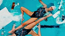 Synchronised swimmers battle plastic