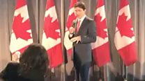 Trudeau sorry for saying thank you