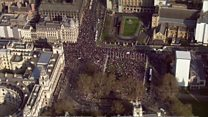 Aerial views of pro-Brexit march