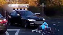 Car hitting cyclist captured by dashcam