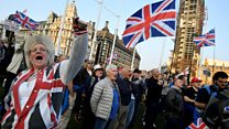 Leave supporters rally outside Parliament