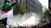 Water cannon used in Algiers protest