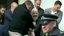 لحظة القبض على مؤسس ويكيليكس في لندن