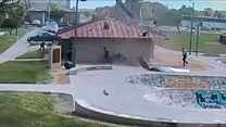 'Dust devil' rips roof in skate park