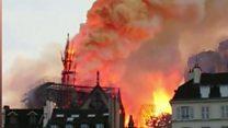 ไฟไหม้นอเทรอดาม: ประธานาธิบดีมาครง รับปากจะสร้างวิหารขึ้นมาใหม่