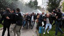 HDP'lilerin basın açıklamasına tazyikli suyla müdahale
