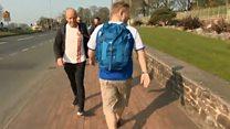 Fan's 58-mile backwards charity trek