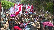 Anger voiced at ex-Peru leader's wake