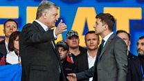 Ukraine presidential candidates clash in debate