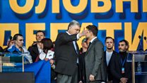 Ukraine's presidential rivals clash