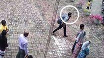 كاميرا مراقبة تلتقط لحظة دخول انتحاري كنيسة سانت سباستيان