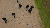 Bootprints mark D-Day disaster