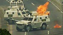 Los violentos disturbios en Caracas entre el ejército y opositores al gobierno