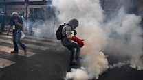 Tear gas fired during Paris May Day clashes