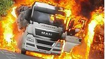 Lorry destroyed in roadside fire