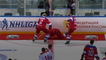 Putin falls on ice after hockey match