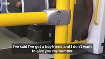 Women is sexually harrassed on tram