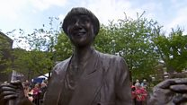 Statue of comedian Victoria Wood unveiled.
