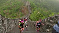 ماراتون روی دیوار چین اشک و عرق شرکت کنندگان را در آورد